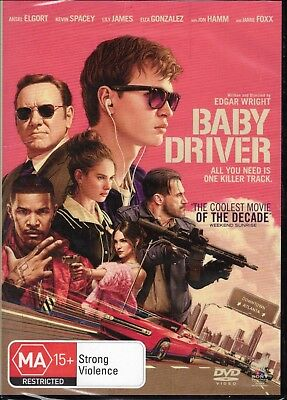 BABY DRIVER DVD Ansel Elgort, Kevin Spacey, Jamie Foxx NEW & SEALED Free Post