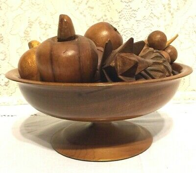 Vintage Hand Crafted Wooden Centerpiece Smooth Carved Footed Fruit Bowl 7 Fruits