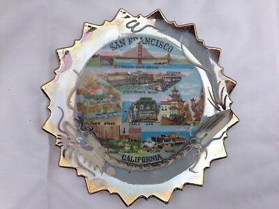 Vintage San Francisco Souvenir Plate Blue and Gold Cable Car Made in Japan