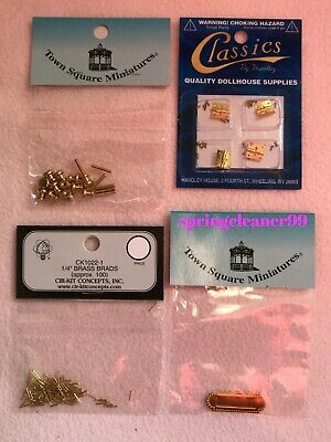 DOLLS HOUSE ~ HINGES ~ DOOR KNOBS ~ LETTER BOX ~ BRASS BRADS ~12th Scale