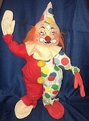 "VINTAGE 1971 ANNALEE MOBILITEE POSABLE CLOWN DOLL 19"" Balloons & Red Fabric"