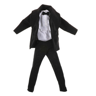 1x Formal Suit Black Bowtie Wedding Groom Clothes Tuxedo For Doll LE