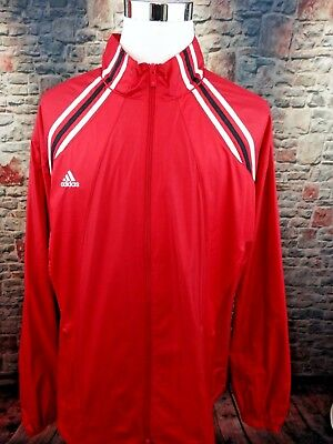 6a60693962744 ADIDAS CLIMALITE LONG Sleeve Blue Red White Track Jacket Zip Up Mens ...
