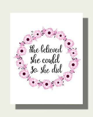 She Believed She Could So She Did Art Print - Pink Contemporary Artwork PQ785