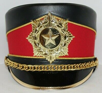 5c36d5f3772 Fruhauf Uniforms Marching Band Hat Black   Red with Gold Star Emblem Size 6  ...