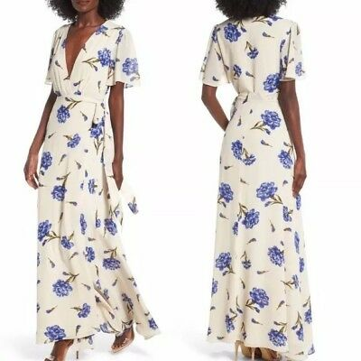 a698b7acb696bb NWT Privacy Please Plaza Kimono Dress in Creme Size Small Floral Wrap Maxi  $238