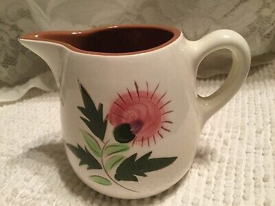 STANGL POTTERY TRENTON NJ  PINK THISTLE 12 oz Small Pitcher Creamer 1 1/2 cup