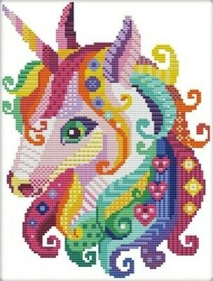 Rainbow Unicorn. 14CT counted cross stitch kit. Craft brand new
