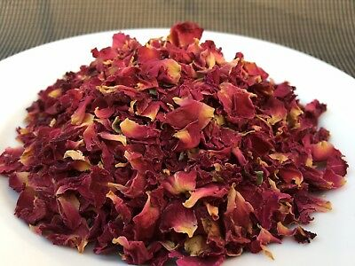 Dried Edible ORGANIC rose petals RED for cake decoration 80g (RosPRed)