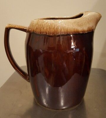 Vintage Kathy Kale Art Pottery Brown Drip Pitcher with Ice Lip