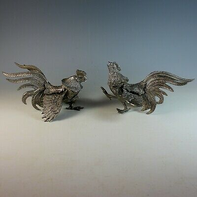 Vintage Pair of Silver Plate Fighting Cocks Roosters