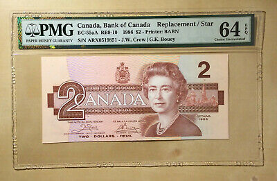 Canada BC-55a 1986 $2 Dollars Crow | Bouey PMG 64 EPQ *Replacement / Star*