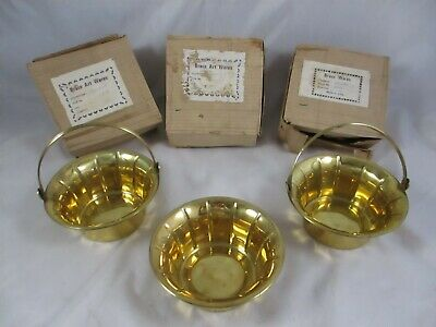 """NOS Lot Of 3 Vintage Brass Baskets  6"""" x 3"""" Hinged Handle"""