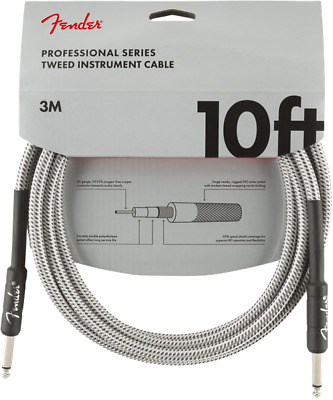 Fender Professional Instrument Guitar Cable, 10', White Tweed PN0990820063