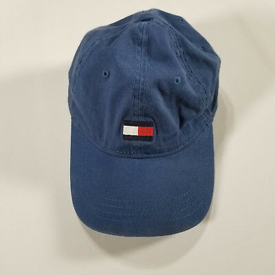 Tommy Hilfiger Strap Back Hat Cap Blue FLAG Logo Adjustable Dad Hat Men  Curved 693a66483259