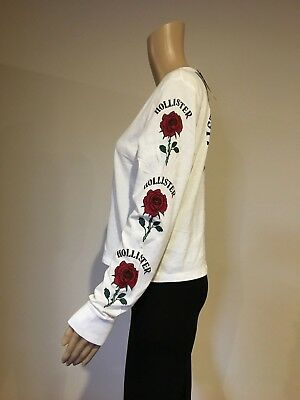 Abercrombie & Fitch Hollister Womens White Roses Logo Graphic T-Shirt Top M NEW