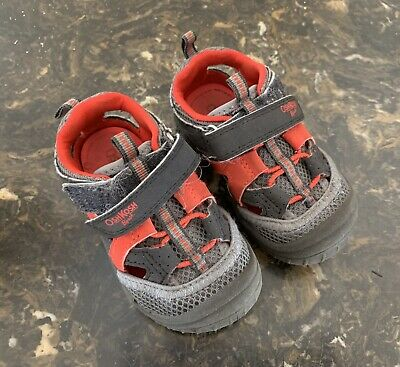 8687230561fe Oshkosh B gosh Baby Boy s Red Gray Black Strap Sandals Sneakers Shoes Size 5