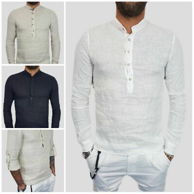 HOT Gents Men's Slim Fit Stylish Polo T Shirt Long Sleeve Linen Tee Tops T-Shirt