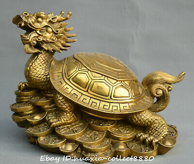 Collect Chinese fengshui old Bronze Fortune Dragon turtle yuanbao money statue
