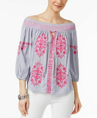 695b15970718e7 INC Womens New 1155 Blue Striped Embroidered Off Shoulder Long Sleeve Top  XL B+B