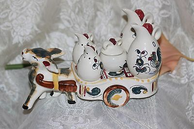 Complete Vintage PICO Hand Painted Ceramic Donkey w/ Wagon Condiment Caddy Japan