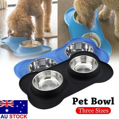 Dog Cat Bowls Stainless Steel No Spill Silicone Mat Pet Water Food Dish Feeder