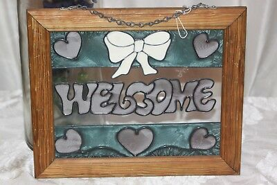 "Vintage Framed Painted Glass ""WELCOME"" Sign with Chain"