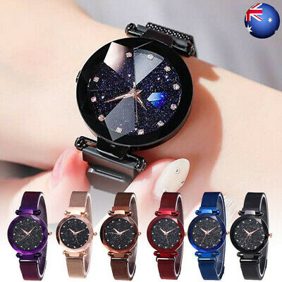 Fashion Starry Sky Watch Magnet Strap Free Buckle Stainless Steel Women Gift