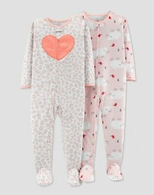 NWT Lot of 2 Carter/'s Baby Girl Size 3T Set Pajama Footed Sleepwear Pink Carters