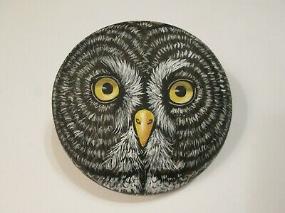 Great Gray Owl Bird Portrait hand painted on a rock by Ann Kelly