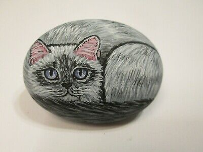 Persian Long Hair Cat hand painted on a stone - pet rock - by Ann Kelly