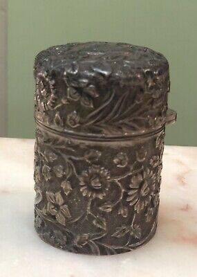 Stunning Antique Floral Repousse Sterling Silver & Crystal Glass Ink Well C 1857
