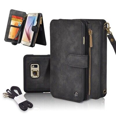 Multifunction Leather Strap Zipper Wallet Phone Case F Samsung S6 S7 Edge Note 5