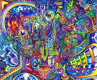 """Trippy Psychedelic Art Fabric Poster 21 x 13/"""" T56"""
