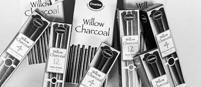 Coates Fine English Willow Charcoal Sets in Assorted Thicknesses