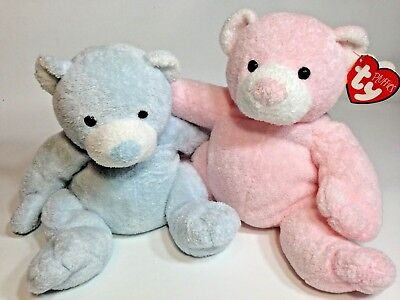 79a79268f96 TY Pluffies Pink PUDDER   Blue TINKER Bear TyLux Baby Stuffed Animal Toys  Set 9