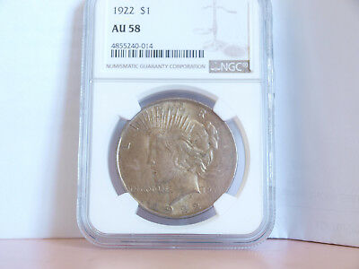1922 United States P Peace Dollar Coin (90% silver) NGC AU 58