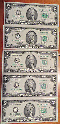 US $2 Dollar Bills **Five NEW Notes in Sequence**  Series 2013