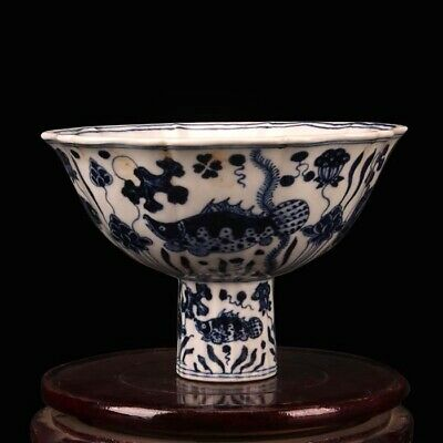 Great Chinese Antique Ming Xuan De Blue White Porcelain Fish High foot bowl