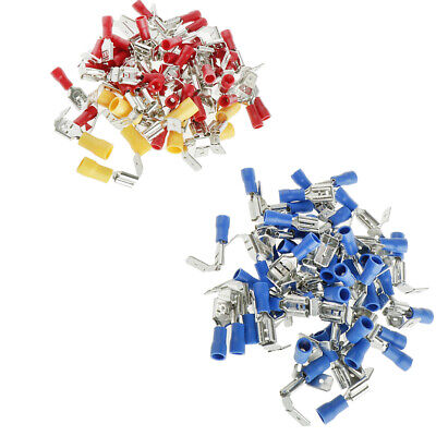 100Pcs Insulated Spade Crimp Terminals Electrical Wire Connector