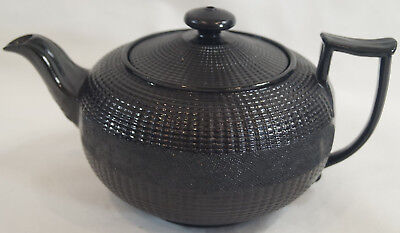 Early 19th Century Possibly Wedgwood Black Basalt Tea Pot With Engine Turning