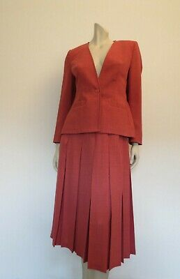 Vintage Skirt Suit - Pleated Skirt, Tailored Jacket - Cranberry - Fletcher Jones