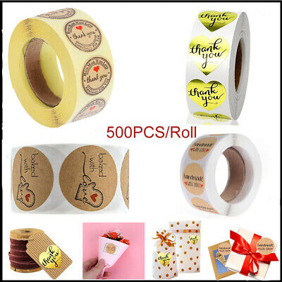 500PCS Package Label Kraft Stickers Sealing Paper Tag Handmade Party Supplies