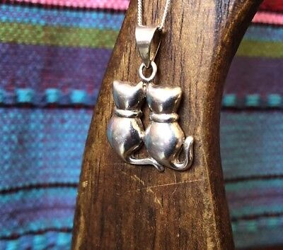 Vintage Sterling Silver Two Love Cats Pendant