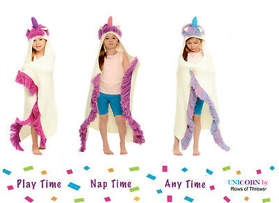 Unicorn Hooded Blanket for Girls Kids - Available Colors: Purple, Pink, Blue