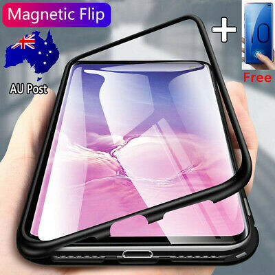 For Samsung S10 5G A70 A50 A30 Magnetic 9H Tempered Glass+Metal Frame Case Cover