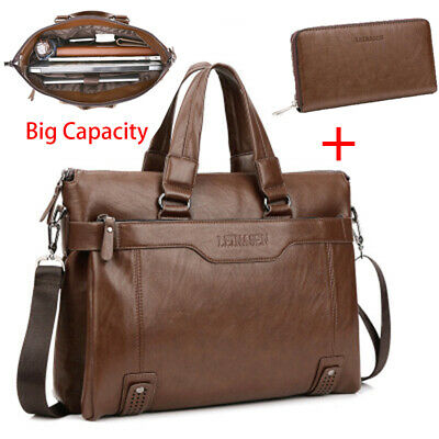3ecd168ef42f US Men PU Leather Soft Business Handbag Briefcase Messenger Laptop Shoulder  Bag