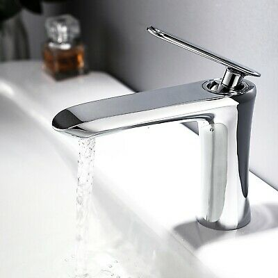 Bathroom Sink Faucet Chrome Single Handle Solid Brass Lavatory One Hole Tap