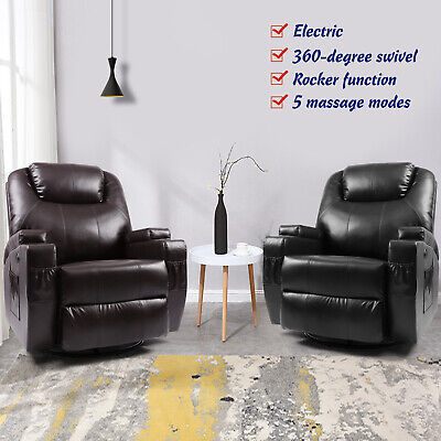 Electric Rocker Recliner Massage Chair Sofa Swivel Leather Lounge 8 Point Heated