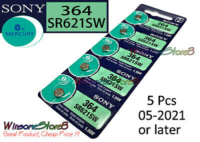 5 pcs Sony SR621SW 364 1.55V cell coin button battery Made in Japan 05-2021